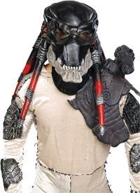 Vuxna Deluxe svart latex Predator Mask - Alien Vs. Predator Accessories