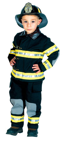 Svart Jr. Fire Fighter dräkt med hjälm - Brandman Costumes