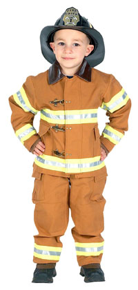 Tan Jr. Fire Fighter dräkt med hjälm - Brandman Costumes
