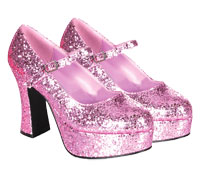 Glitter Pink Mary Jane skor - Costume Shoes