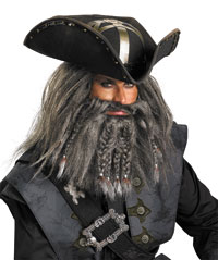 Deluxe svart skägg Pirate Hat - Pirates of Caribbean Costumes