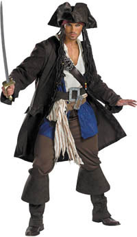Premium Adult kapten Jack Sparrow dräkten - Pirates of Caribbean Costumes